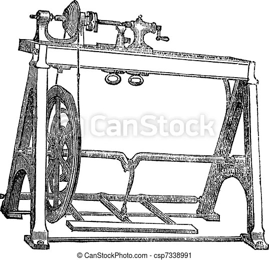 Spindle lathe woodturning machine, vintage engraving