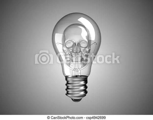 spooky skull inside lightbulb