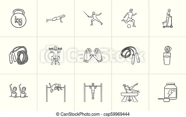 Sports and workout hand drawn outline doodle icon set