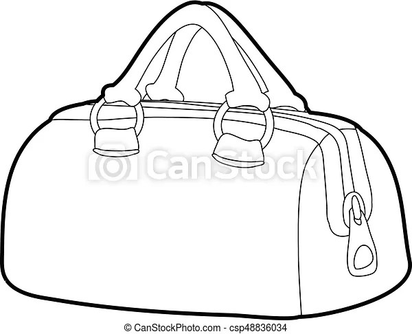 Sports bag icon outline. Sports bag icon in outline style