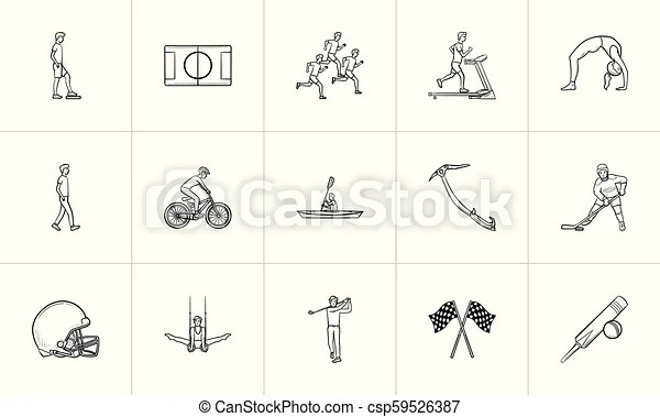 Sports hand drawn outline doodle icon set. outline doodle