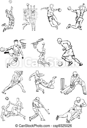 Sports team figures. Grass hockey, sport icons, olimpic