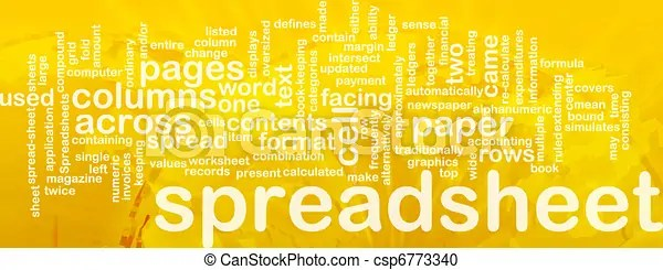Spreadsheet word cloud. Word cloud concept illustration of... stock ...