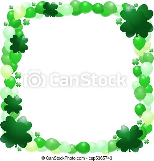 Cute Leprechaun Wallpaper St Patrick S Balloon Frame Vector Border Of Green And