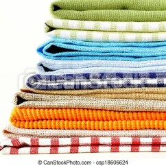 Kitchen Napkins Cannisters Stack Of Colorful On White Background Csp18606624