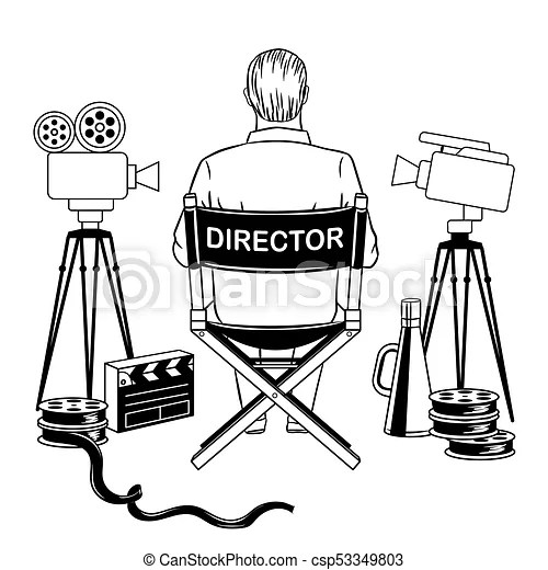 Stage director on set coloring book vector illustration