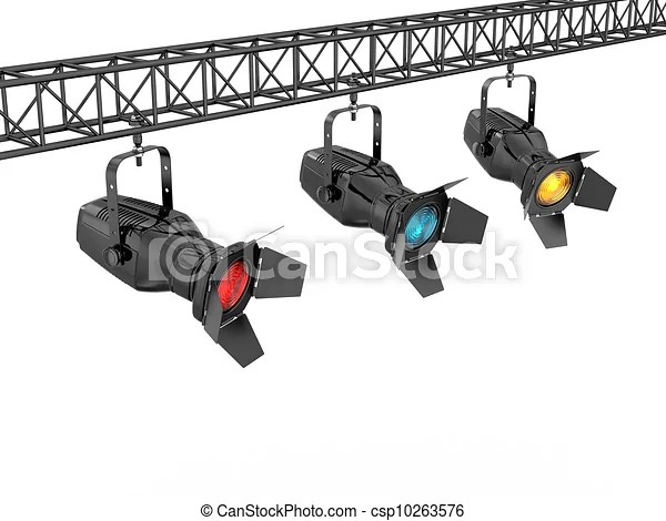 Stage lights on white isolated background. 3d.