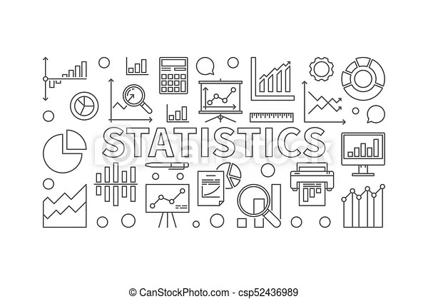 Statistics linear horizontal vector banner. Statistics