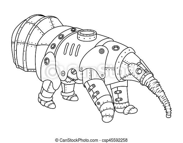 Steam punk style anteater coloring book vector. Steam punk