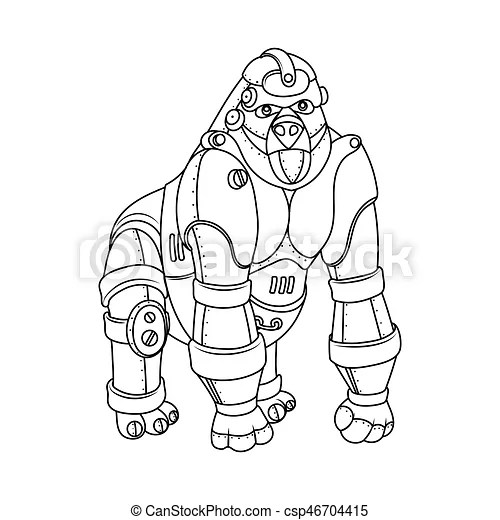 Steam punk style gorilla coloring book vector. Steam punk
