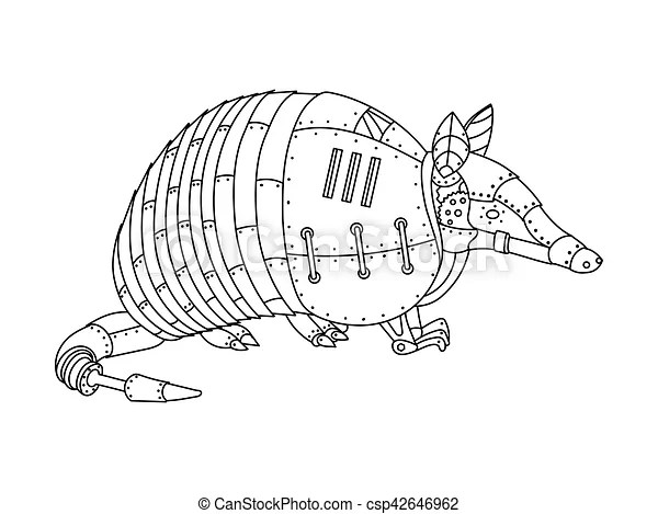 Steampunk style armadillo coloring book vector. Steampunk