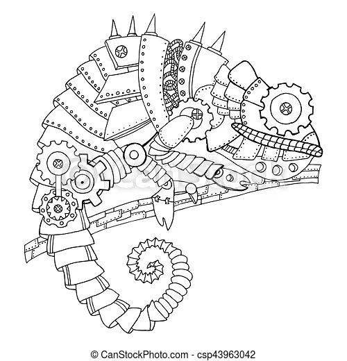 Steampunk style chameleon coloring book vector. Steampunk