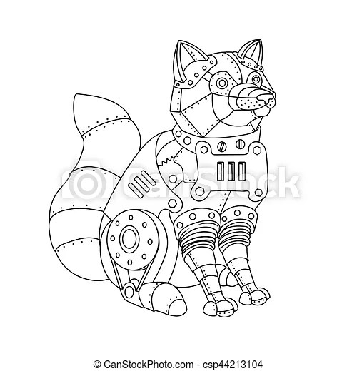 Steampunk style fox coloring book vector. Steampunk style