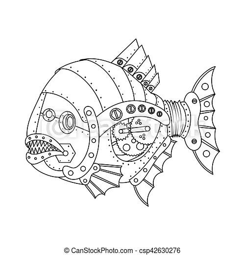 Steampunk style piranha fish coloring book vector