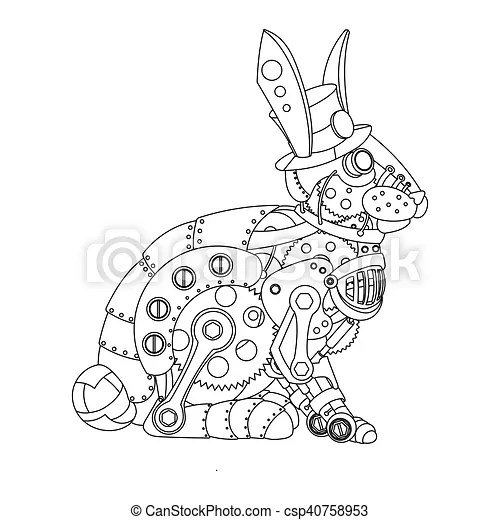 Steampunk style rabbit coloring book vector. Steampunk
