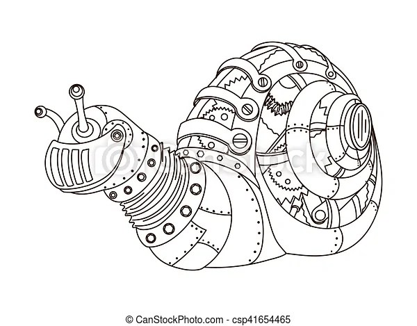 Steampunk style snail coloring book vector. Steampunk