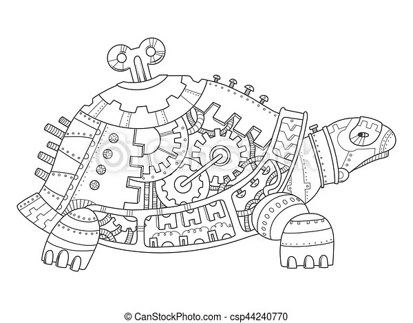 Steampunk style turtle coloring book vector. Steampunk