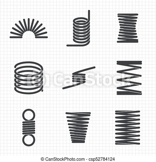 Steel wire flexible spiral coils spring on notebook page
