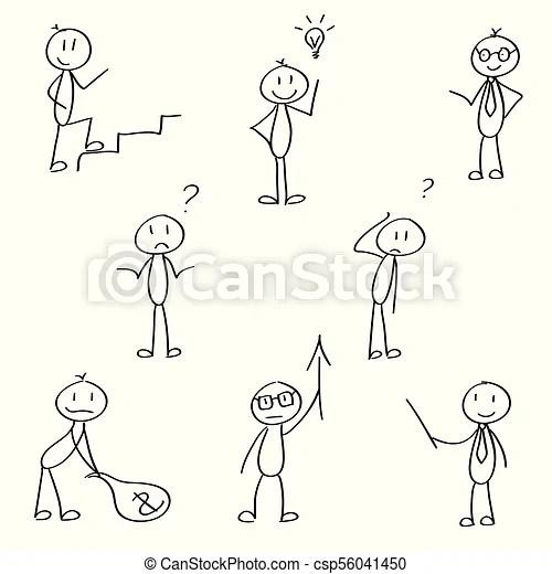 Stick men for business presentation. Set of cute stick