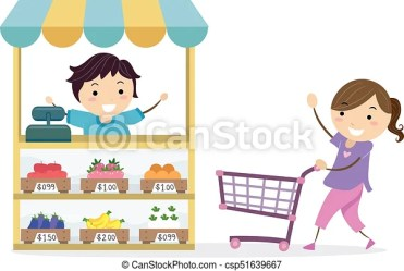 grocery play shopping boy stickman selling clip vector playing pushing cart illustration clipart fruits towards drawing line