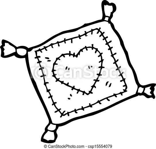 Stitched cushion cartoon.