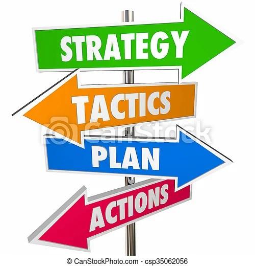 Strategy tactics plan action arrow signs achieve goal 3d.