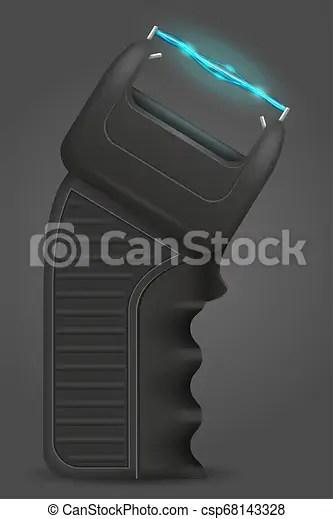 Stun gun weapon self defense vector illustration. Stun gun weapon self defense illustration isolated on white background.