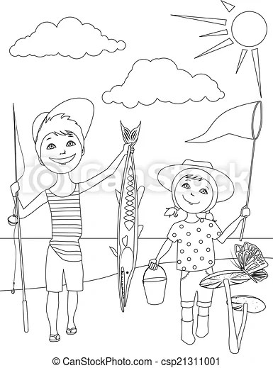 Summer activities for kids coloring. Vector outline of a