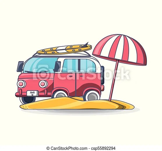 Summer Retro Van Beach Vacation Vector Illustration Graphic Design