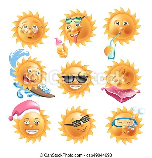 Sun Smiles Summer Holiday Vacation Cartoon Emoticons Faces Vector Icons Set Sun Smiles On Summer Holiday Vacations Cartoon