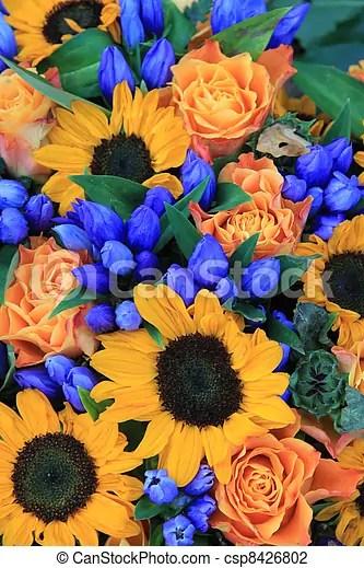 sunflower arrangement in blue