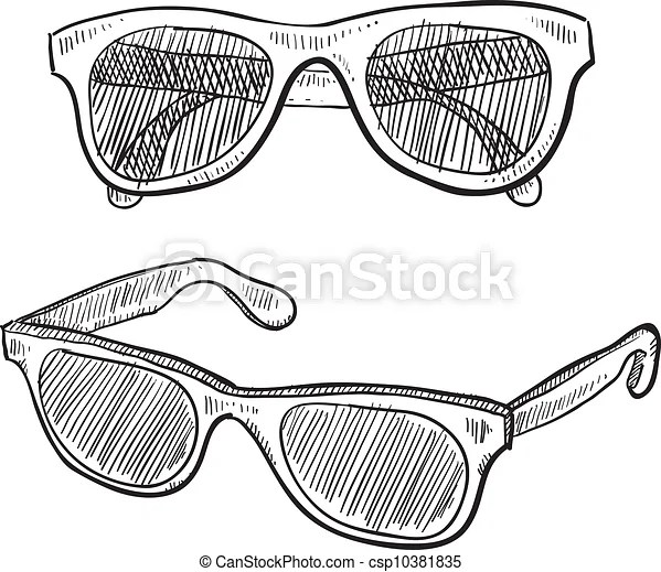 Sunglasses sketch. Doodle style sunglasses vector