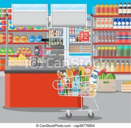 supermarket vector interior grocery inside shopping counter illustration checkout goods mall clipart food drinks drawing fruits dairy clip flat line