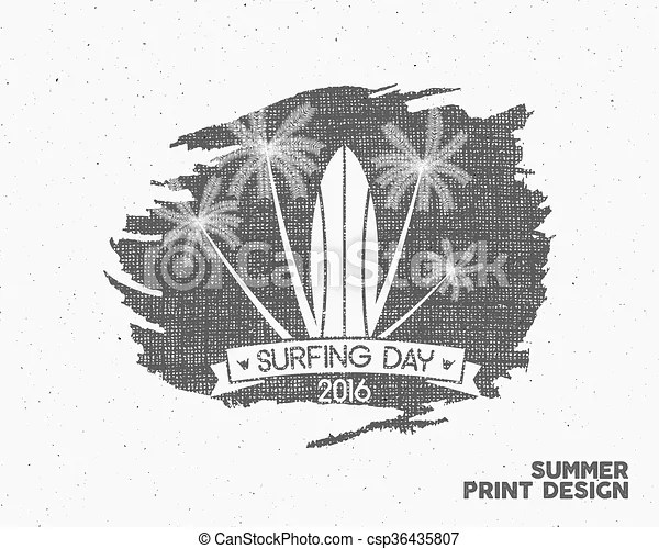 Surfing day label graphic elements. vector tropical