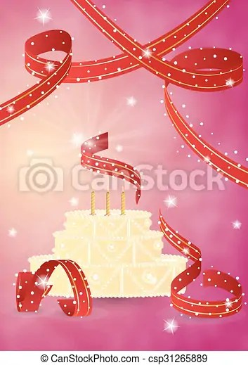 Sweet Birthday Cake And Ribbons