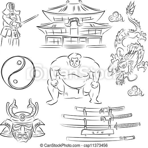 Japanbeautiful set of vector sketches of symbols of