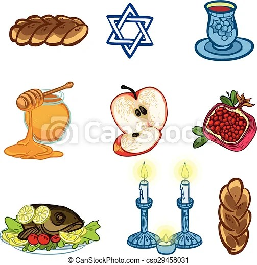 Click here to download the worksheet. Symbols Of Rosh Hashanah Jewish New Year Vector Illustration Iconset Canstock