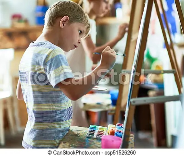 Talented Little Boy Painting Picture Csp