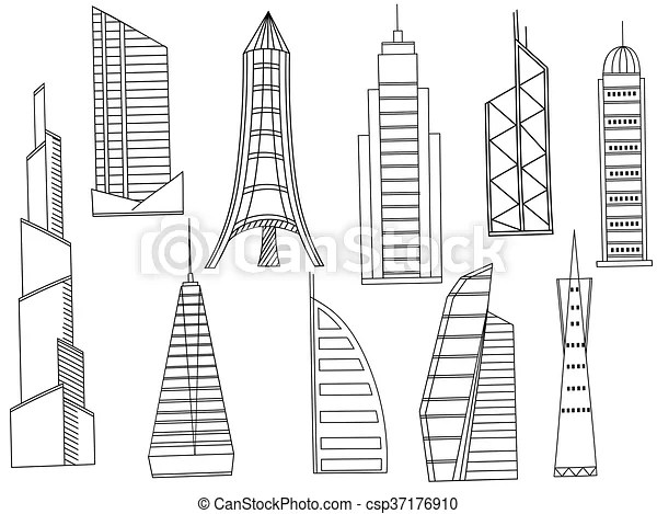 Tall buildings coloring book vector. Vector line art