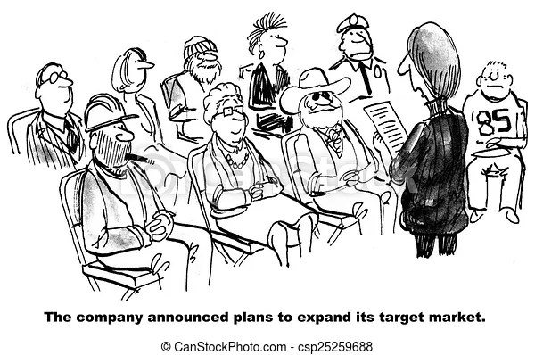 Target audience expansion. Cartoon of a meeting that