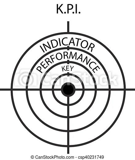 Target icon with word kpi key performance indicator. Key