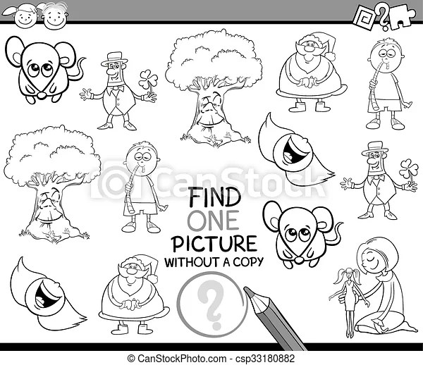 Task for children coloring book. Black and white cartoon