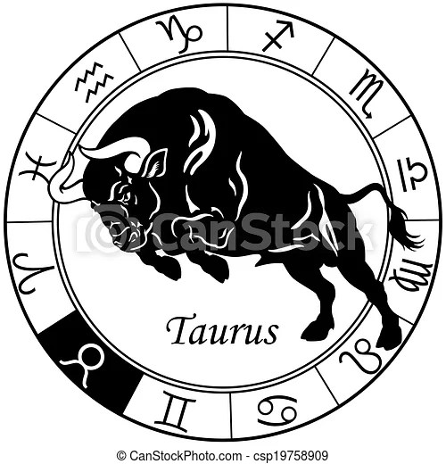 taurus zodiac black white