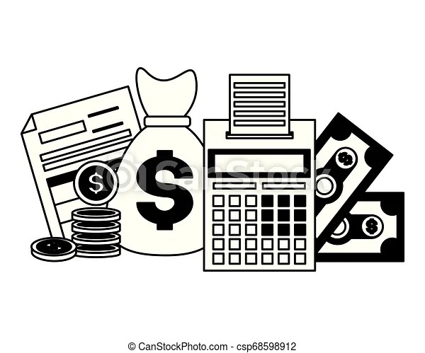 Tax payment concept. Calculator coins money bag forms tax