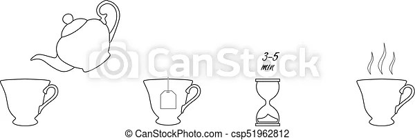 Tea instruction icons. Tea brew instruction icons. set of