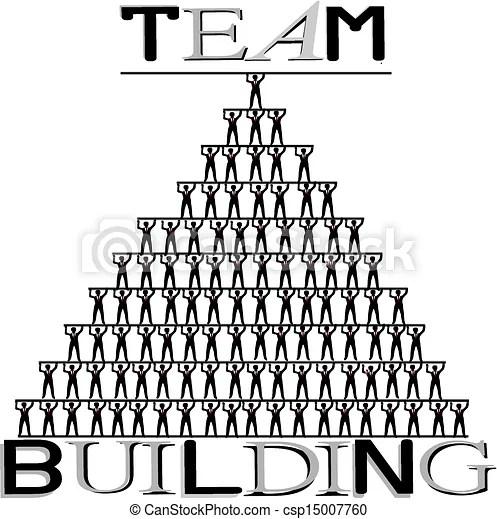 Team building, human pyramid, concept illustration on