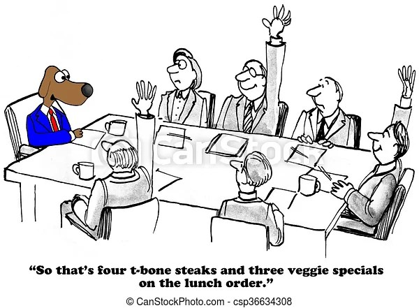 Team lunch. Business cartoon about a team lunch.