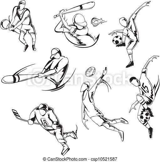 Team sports. set of black and white vector illustrations.