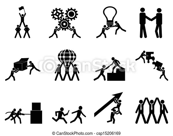 Isolated teamwork icons set from white background.