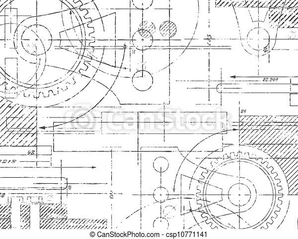 Technical drawing. Grungy technical drawing illustration